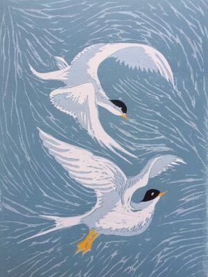 Arctic Terns - lino print