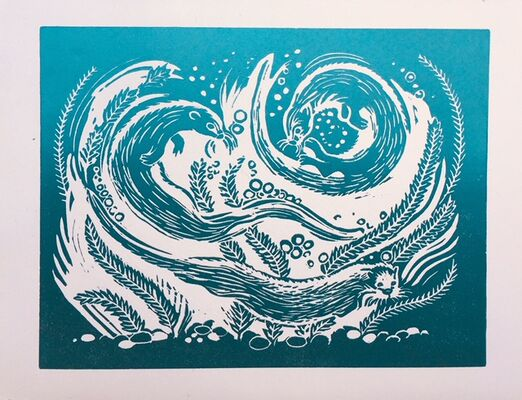 Otters - lino print