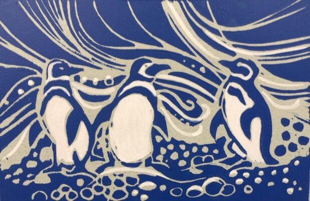 Penguins - lino print