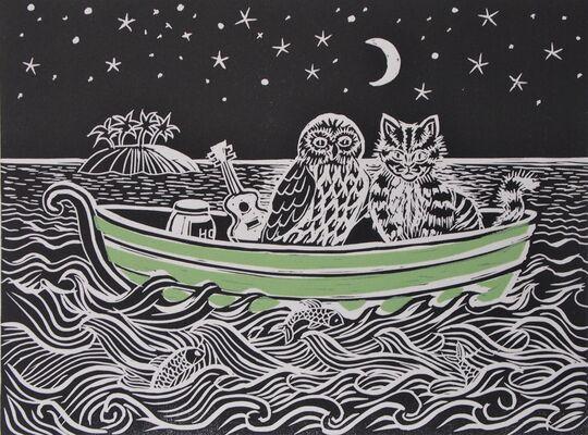The Owl & the Pussycat - lino print