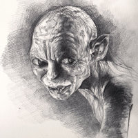 Original Gollum Pencil Sketch on paper