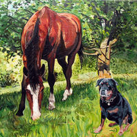 'Two Dogs One Horse' - Pet Portrait Commission