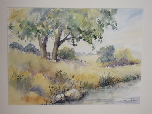 Waterside view. Watercolour