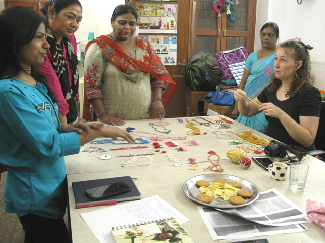 Anand Craft Women showing their tatted products with Anna s