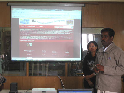 Balasubramaniam from KRTC demonstrating his first attempt at making a website