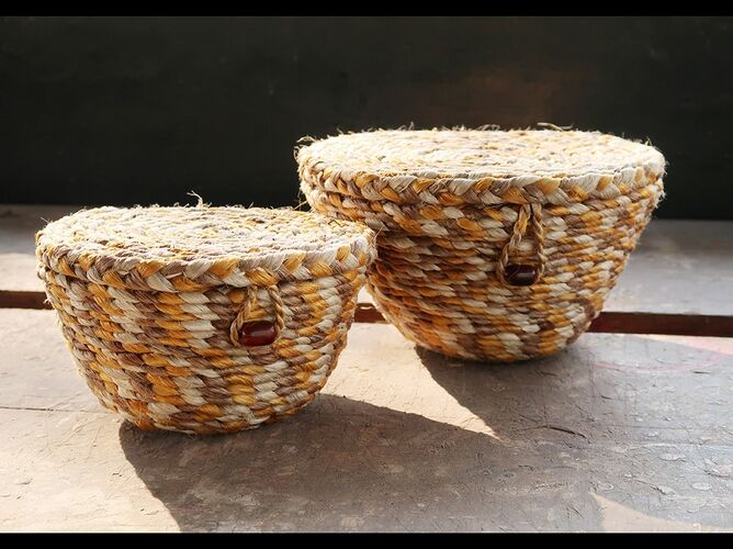 Naturally Dyed Jute Baskets with Lids