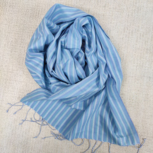 Blue striped cotton scarf with fringes