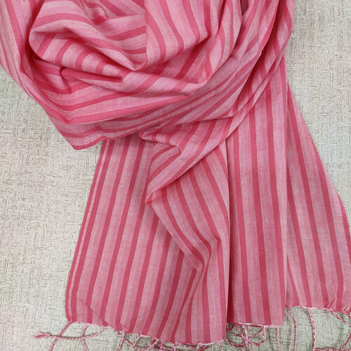 Cotton scarf, pink stripes, twisted fringes