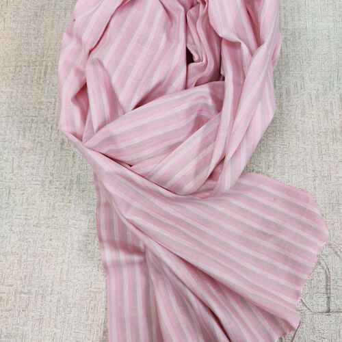 pale pink and grey and white striped scarf with twisted fringes