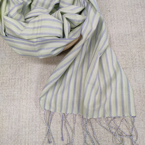Grey, green and white striped cotton scarf with twisted fringes