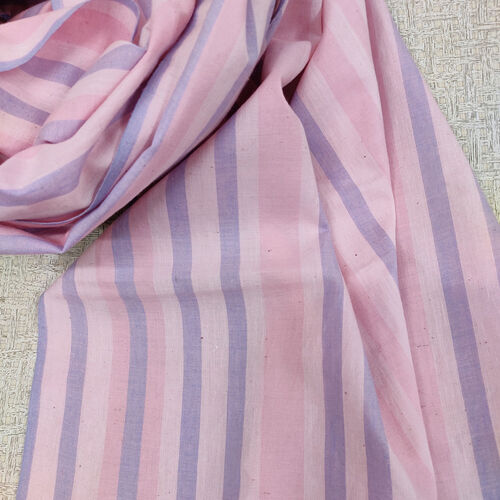 Pink and blue striped cotton scarf