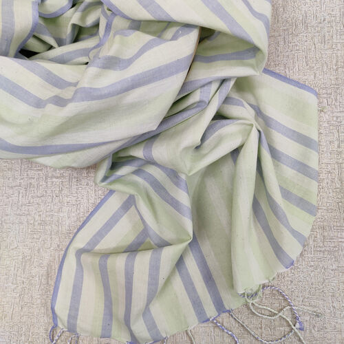 Green and blue striped cotton scarf with twisted fringes