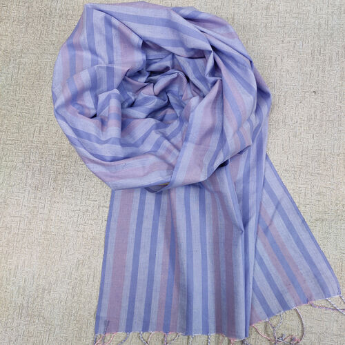Blue and pink cotton scarf with twisted fringes