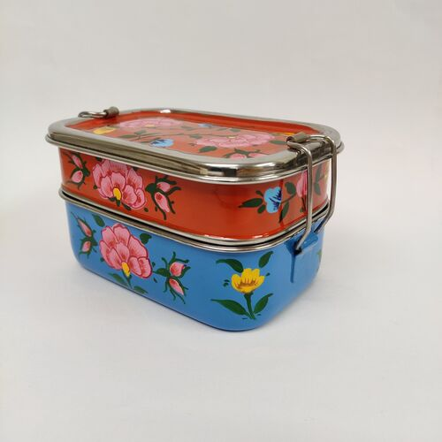 Brightly painted steel two layer tiffin box
