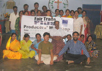 Mathew from MESH (bottom Right) with the artisans from Little Flower Leprosy Colony after their Fair Trade Plus Training