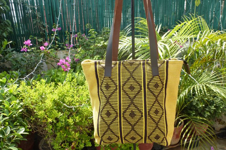 1111699 Hand Woven Cotton, Leather Trimmed Bag