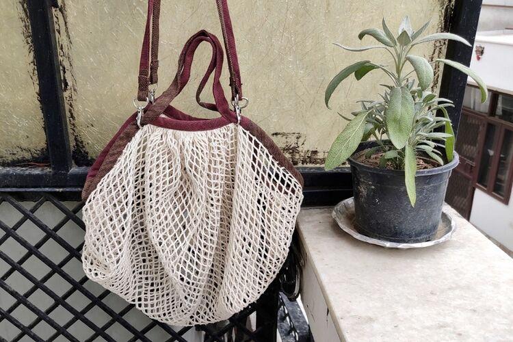 Organic Cotton String Bag with Detachable Handles