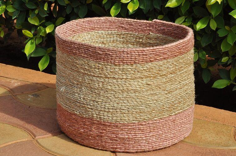 Naturally Dyed, Jute Storage Basket