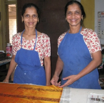 Sunita and Benita block-printers