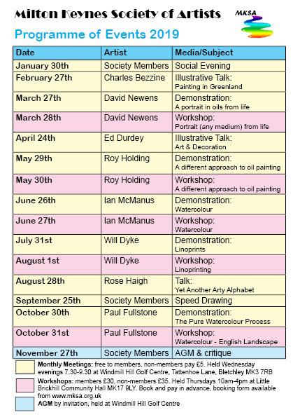 2019 Programme of Events