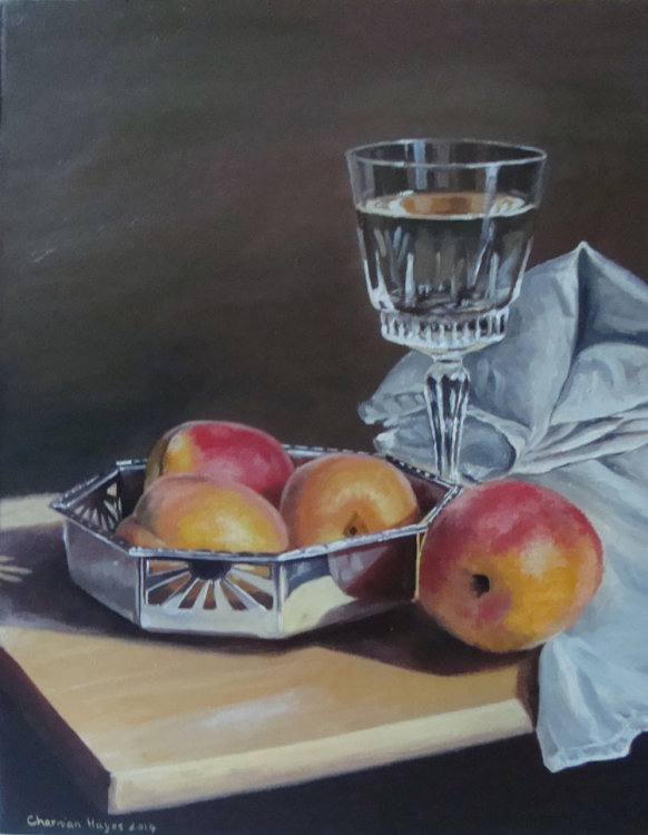 Fruit, Wine and Silver Dish, by Charmian Hayes