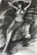 Gilda relaxing Charcoal on paper 76 x 56cm 2018