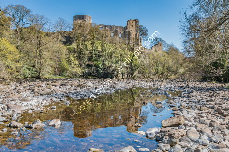 Barnard Castle and the River Tees from the riverbank at Startforth