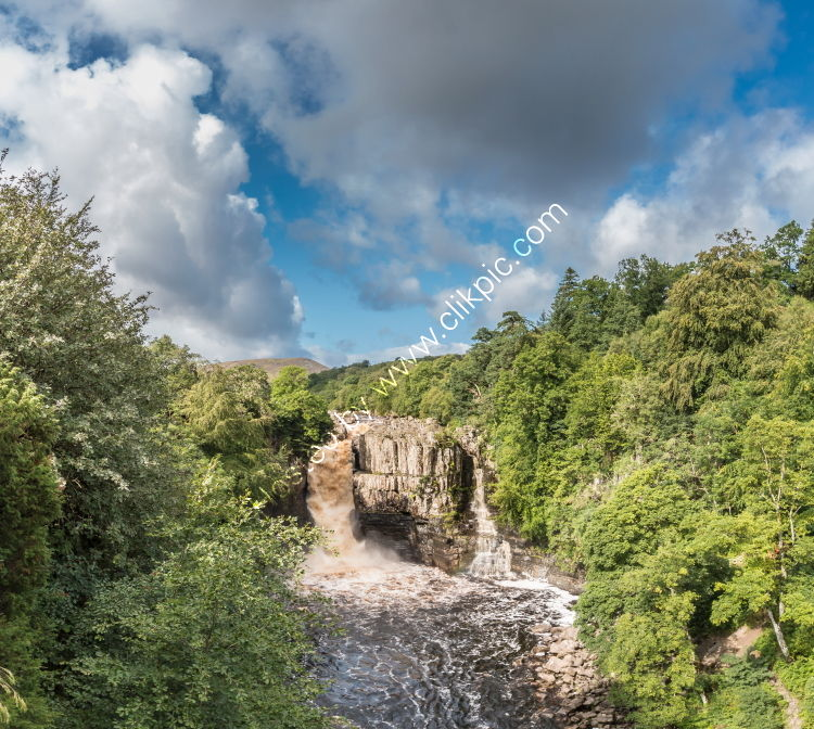 High Force Waterfall In Spate from the Pennine Way Panorama