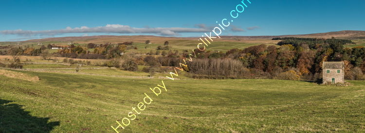 Ettersgill to Bowlees from Holwick in Autumn Panorama