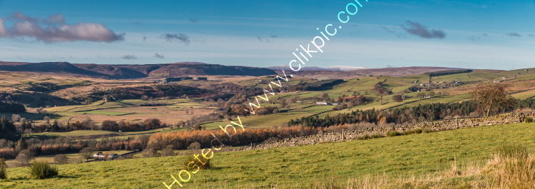 Great and Little Dun Fells and Cross Fell Panorama from above Newbiggin