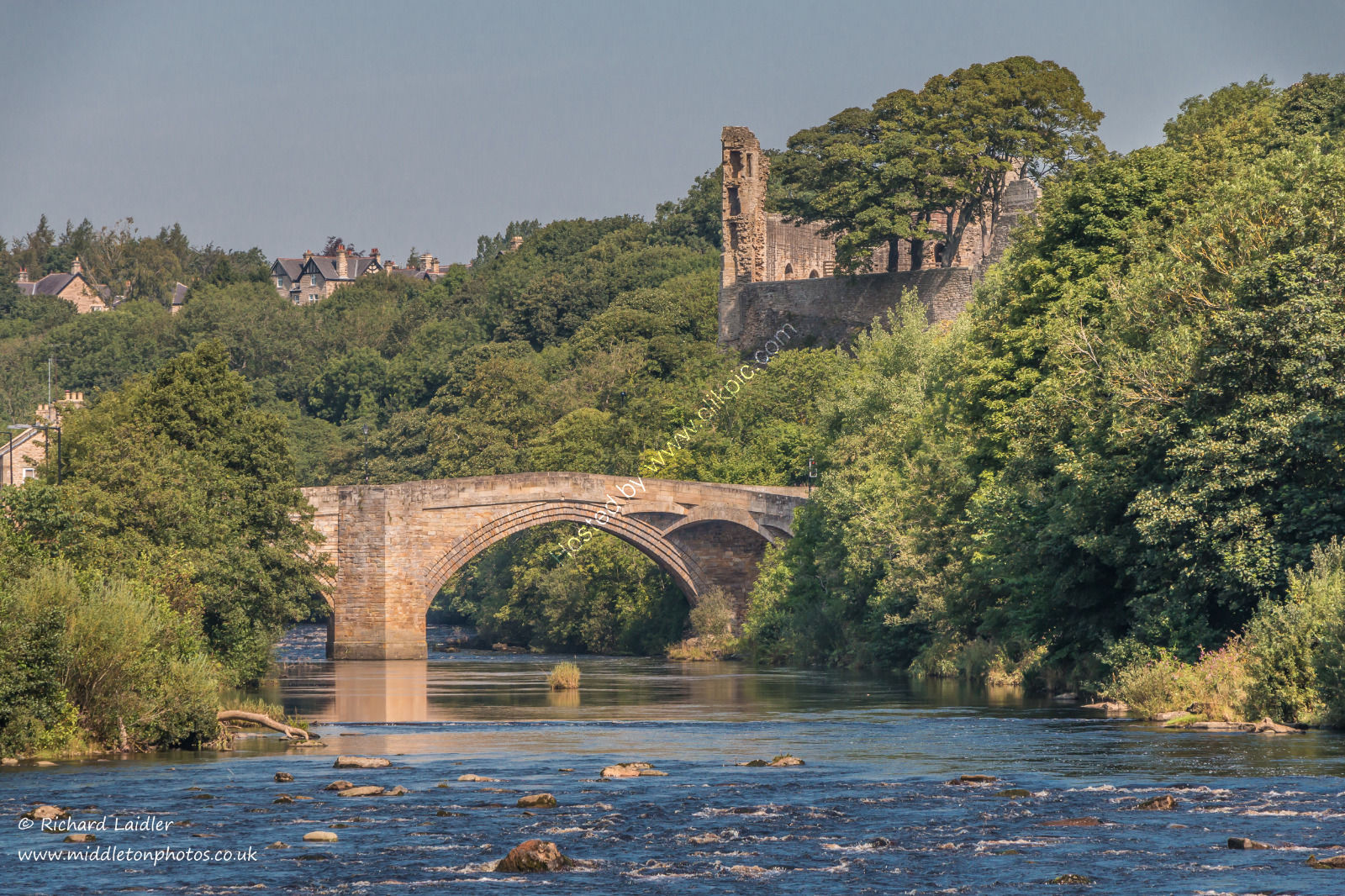 The River Tees, County Bridge and the castle, Barnard Castle, in Summer