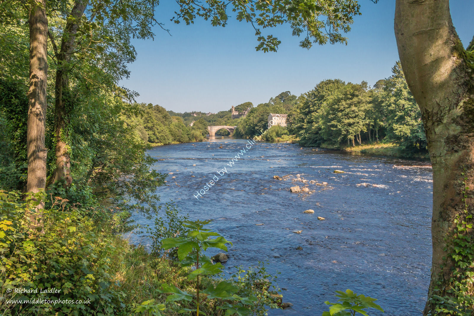 The River Tees towards County Bridge, Barnard Castle in Summer