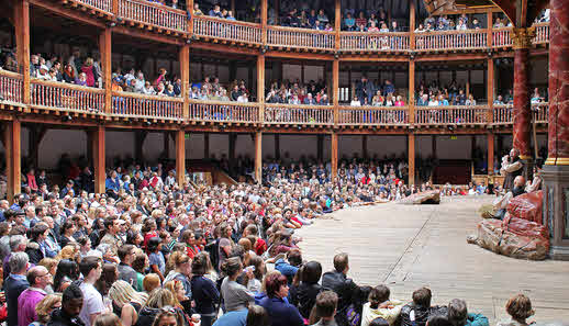 The Interior of The Globe, during a performance.