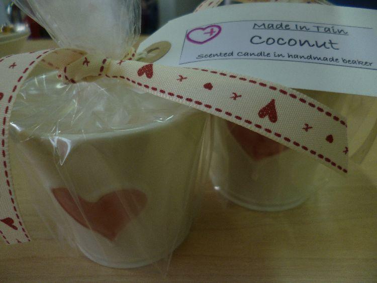 Candle in handmade beaker