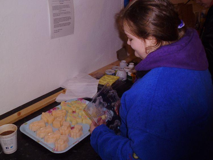 Leah making soap