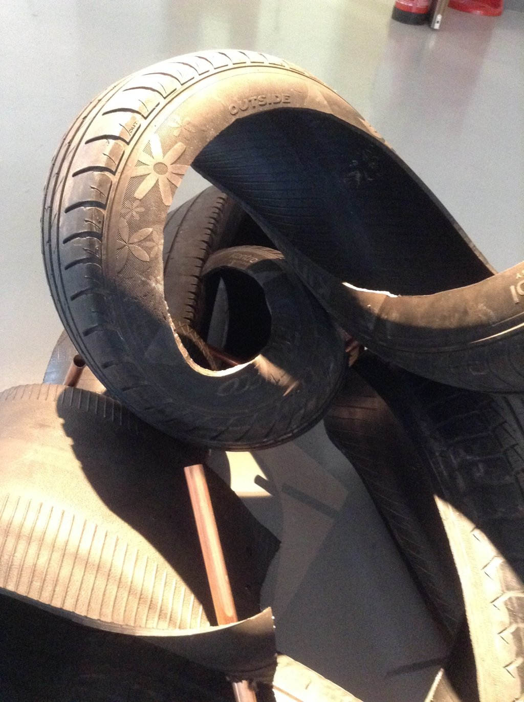 'tread' ( detail) -  sculpture using car tyres- MA Show