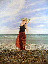 Girl on a Windy Beach - Greetings card