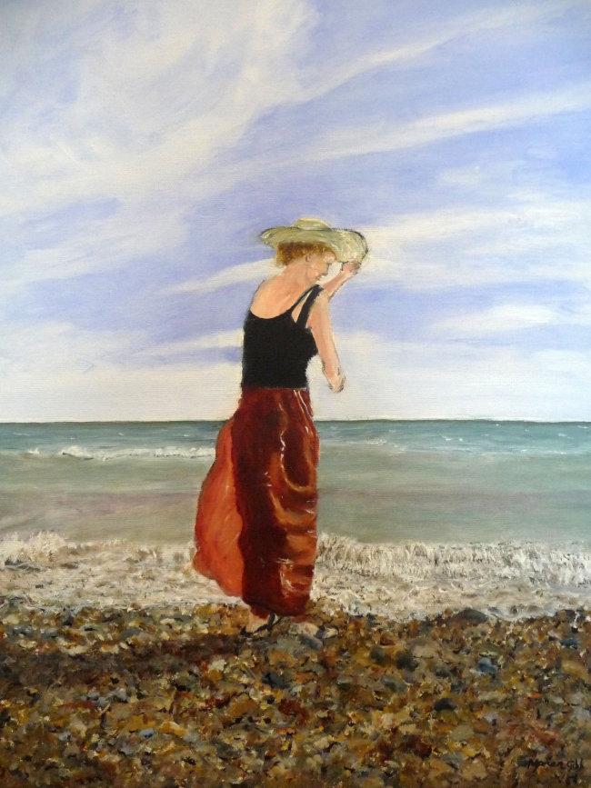 Girl on a Windy Beach