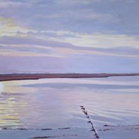 Sunset over River Deben, Felixstowe. Oil on stretched canvas, 60cm x 75cm