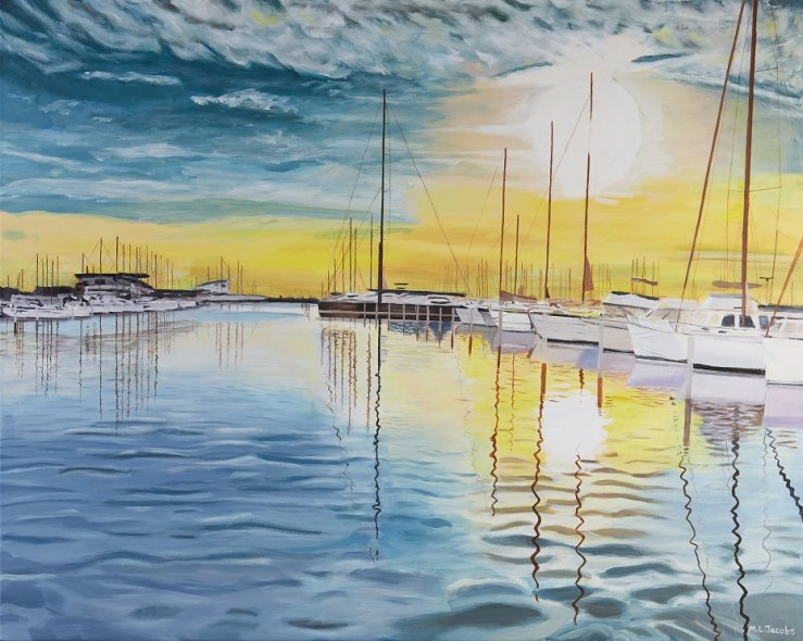 Yachts in harbour 36 x 45 cm