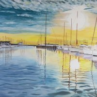 Yachts in harbour 40 x 50 cm