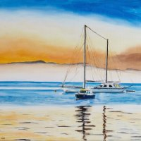Yachts in sunset 45 x 60 cm