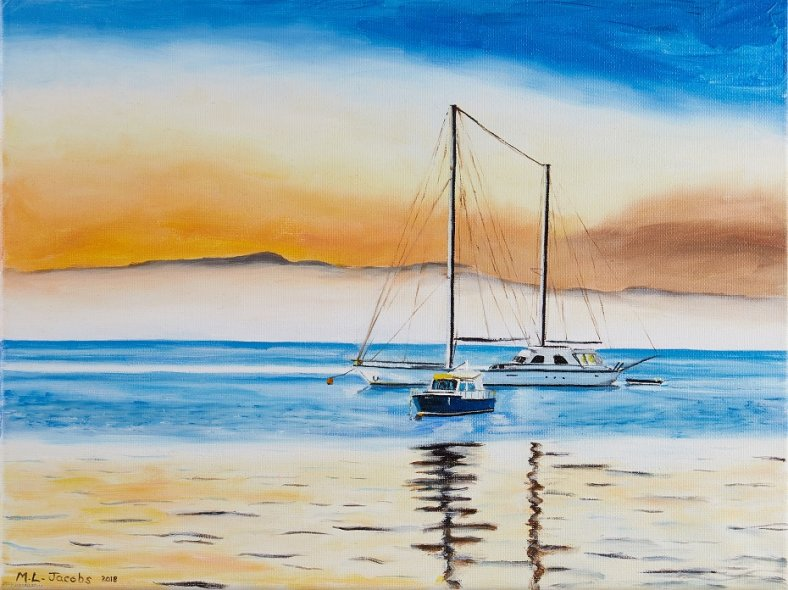 Yachts in sunset 30 x 40 cm