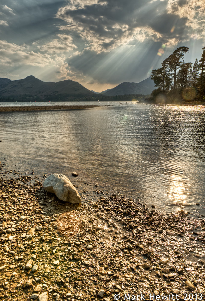 Crepuscular Rays Over Catbells and Causey Pike