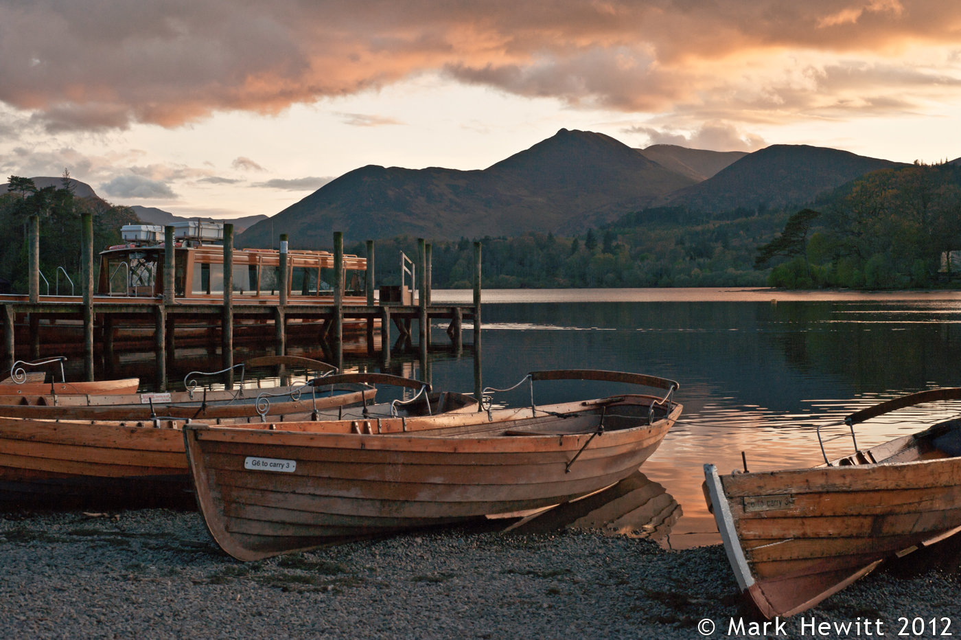 Sunset Sky Over Derwentwater Rowing Boats