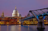 The Millennium Bridge and St Paul's Cathedral At Dusk