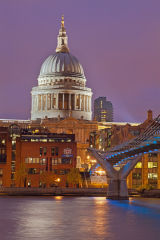 St Paul's Cathedral and Millennium Bridge At Dusk