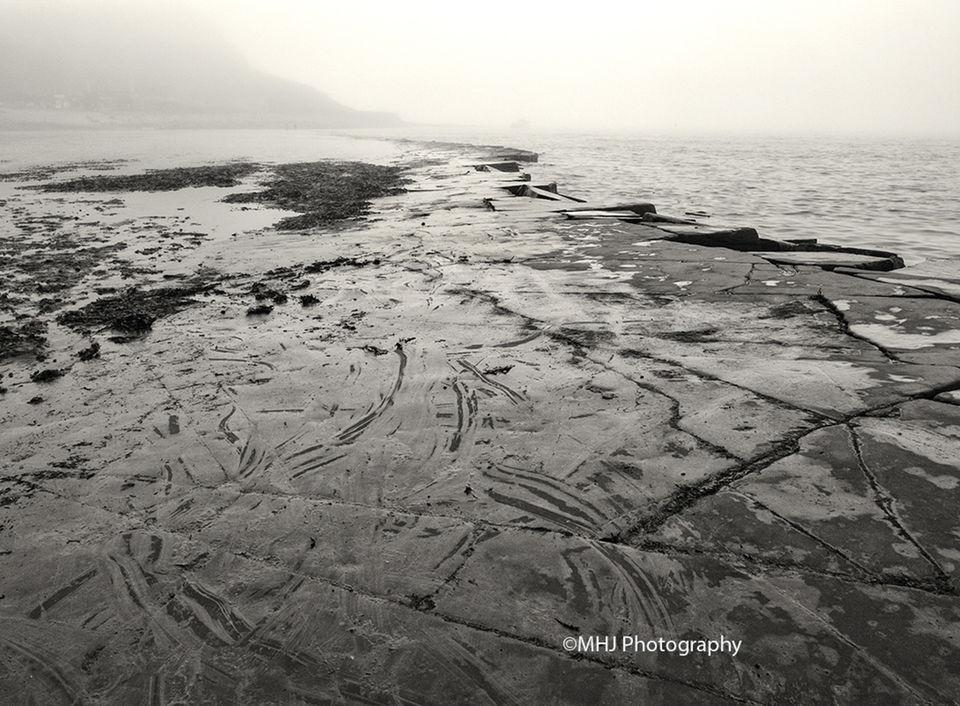 BW Rocky path into fog