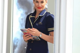 a hostess at the Breitling hospitality area RIAT 2017