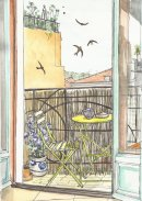 Apartment balcony with swallows.